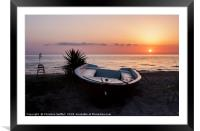 Morning sun with boat, Framed Mounted Print