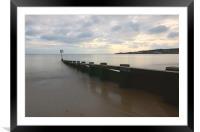 Beach groyne sunrise., Framed Mounted Print