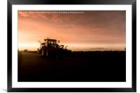 Harvesting Tractor in the Sunset Glow, Framed Mounted Print
