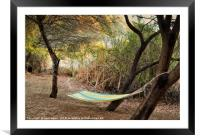 Hammock in trees on river bank, Framed Mounted Print