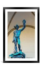 Bronze statue of Perseo with the head of Medusa, Framed Mounted Print