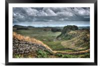 Hadrian's Wall looking East., Framed Mounted Print