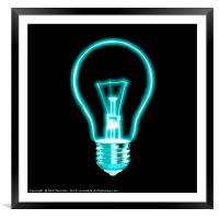 Outline of glowing light blue Light bulb, on black, Framed Mounted Print