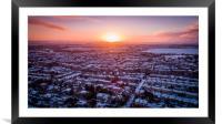 Sunrise over a snowy suburb, Framed Mounted Print