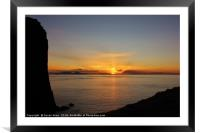 Silhouette and Sunset at Neist Point, Isle of Skye, Framed Mounted Print