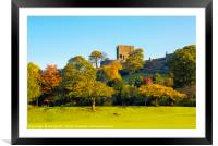 Autumn colours below Clitheroe Castle, Framed Mounted Print