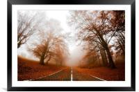 Road in fog, Framed Mounted Print