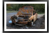 BURNT OUT CAR AT THE ROADSIDE, Framed Mounted Print