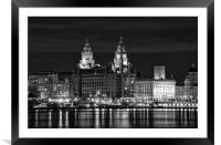 Liverpool Skyline at Night, Framed Mounted Print
