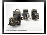 old film cameras, Framed Mounted Print