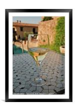 Close up of a chilled glass of white wine, Framed Mounted Print