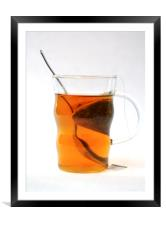 Glass cup of tea, Framed Mounted Print