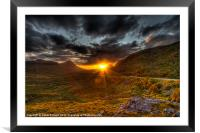 Sunset in the Highlands, Framed Mounted Print