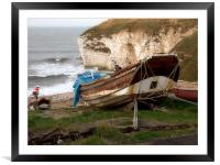 Boats at Thornwick Bay, Framed Mounted Print