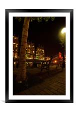 Tree At Salford Quays By Night, Framed Mounted Print