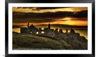Sunset over Dunluce Castle, Framed Mounted Print