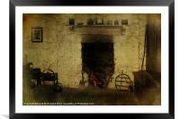 An Old Irish Hearth, Framed Mounted Print