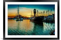 Marina Sunset, Framed Mounted Print