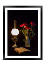 Reading by oil lamp, Framed Mounted Print