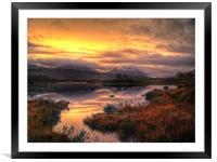 Golden Sunrise Over Loch Ba, Framed Mounted Print