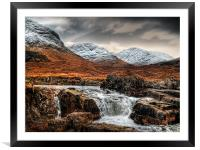 Glen Etive Waterfall, Framed Mounted Print