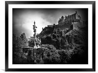 The Ross Fountain, Edinburgh in B&w., Framed Mounted Print