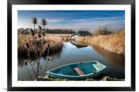 Blue Boat at Hickling, Framed Mounted Print