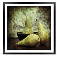 Pears and a bowl, Framed Mounted Print