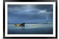 Riverside Wreck, Framed Mounted Print