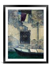 Old Wall and Washing, Framed Mounted Print