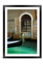Gondola and arched doorway, Framed Mounted Print