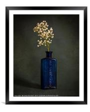 Blue Bottle with White Flowers, Framed Mounted Print