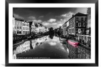 Reflections over Ghent with pink, Framed Mounted Print