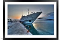 Super Yacht at Nafplion, Framed Mounted Print