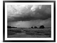 Storm clouds are gathering mono, Framed Mounted Print