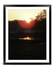Boating lake at Dusk, Framed Mounted Print