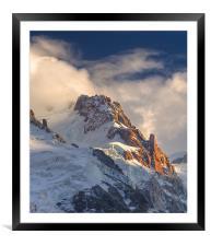 Mount Maudit on fire, Framed Mounted Print