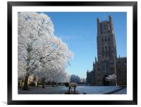 Ely Cathedral in the Snow, Framed Mounted Print