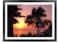Greek Sunset Silhouette, Framed Mounted Print