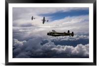 Spitfire escort for Lancaster Bomber, Framed Mounted Print