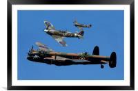 Lancaster Bomber and Spitfires, Framed Mounted Print
