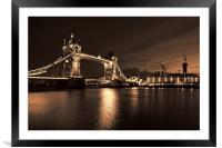 Tower Bridge Toned, Framed Mounted Print