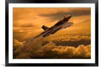 Vulcan XH558 sunset climb, Framed Mounted Print