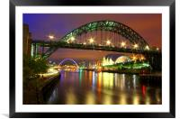 Tyne Bridge at Night, Framed Mounted Print