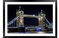 Tower Bridge at night, Framed Mounted Print