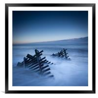 Caistor beach defences, Framed Mounted Print
