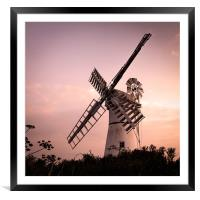 Thurne Windmill at sunset, Framed Mounted Print