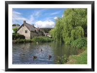 English Village Pond, Framed Mounted Print