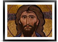 Christ mosaic, Cefalu Cathedral, Sicily, Framed Mounted Print