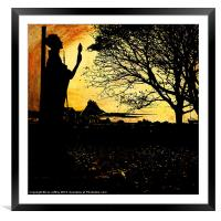 St Aidans Statue of Lindisfarne, Framed Mounted Print